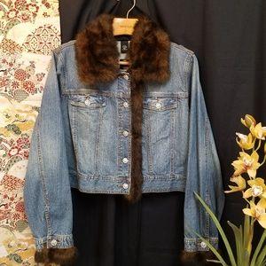 Cropped Denim Jacket w/ Removable Faux Fur Trim